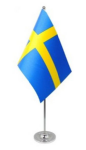 Sweden Desk / Table Flag with chrome stand and base